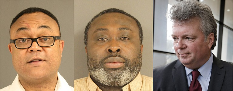 Hinds County District Attorney Robert Shuler Smith (left) is trying to get Christopher Butler (center) out of jail. Attorney General Jim Hood (right) had Smith arrested for his methods. Mugshots courtesy Hinds County Sheriffs Department/Hood photo by Imani Khayyam
