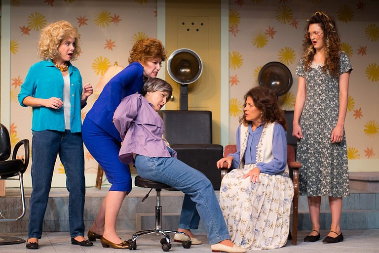 "(left to right) Jessica Wilkinson, Laurie Pascale, Viola Dacus, Wendy Miklovic and Taylor Galvin star in New Stage Theatre's current production of ""Steel Magnolias,"" which runs Sept. 13-18 and 20-25. Photo courtesy New Stage Theatre"