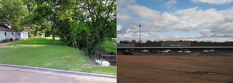 The 375 properties included in the online auction for Jackson vary in size and worth, from the tiny parcel adjacent to a home pictured here on the left, to the old Southport Mall Shopping Center, valued at $1.4 million, pictured on the right. Photo courtesy Secretary of State website