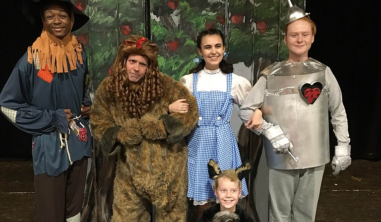 """(Left to right) Bradley Davis, Tommy Chevelle, Hannah Brady, JJ Shipman and (bottom) Cece Johnson star in the Center Players Community Theatre production of """"The Wizard of Oz,"""" Sept. 29-Oct. 2 at the Madison Square Center for the Arts. Photo courtesy Leslie Saucier"""