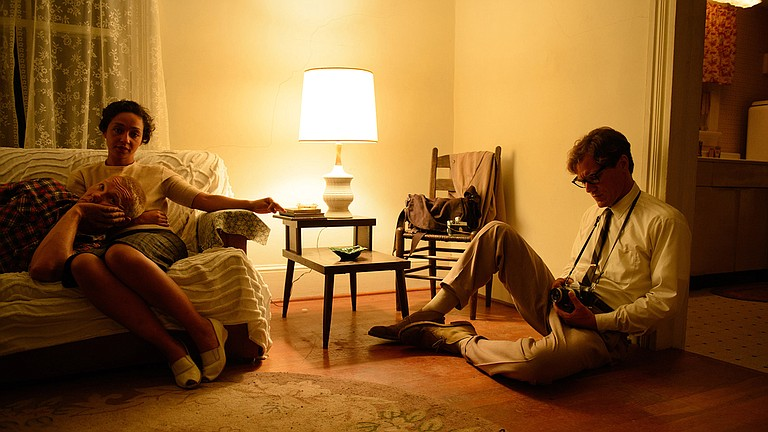 """Joel Edgerton (far left) and Ruth Negga (left) play interracial couple Mildred and Richard Loving in """"Loving,"""" which tells the story of how their case helped legalize interracial marriage in the U.S. Michael Shannon (right) is a Time photographer in the film. Photo courtesy Focus Features"""