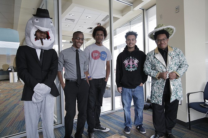 Javan Davis, Samuel Lewis, Jaquan Walker, Gerson Guevara and Terrence Dillon (pictured left to right) make up the Up to Us team at Jackson State University, which is raising awareness on-campus of the national debt.