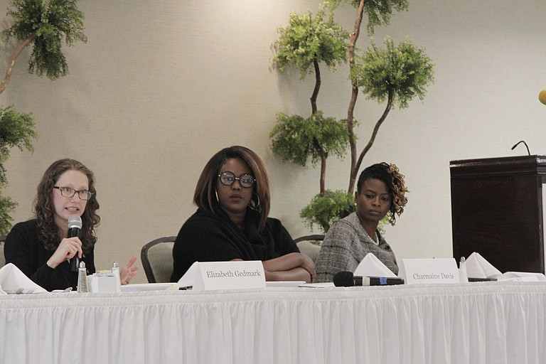 Elizabeth Gedmark (left), Charmaine Davis (middle) and Cassandra Welchlin (right) discussed women's workplace rights, the pay gap and what is ahead for 2017 at the Women's Economic Security Summit on Dec. 2.