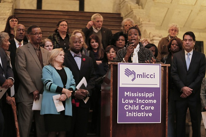 Advocates and lawmakers, including Cassandra Welchlin (pictured), announced the results of research about how Mississippi uses its Temporary Assistance for Needy Families funds and discussed how certain laws could help more funds go to child-care subsidies.