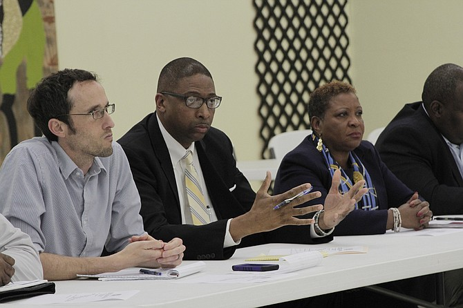 Members of the JPS School Board of Trustees Jed Oppenheim (left), Rickey Jones (center) and Beneta Burt (right), discussed the search for a new superintendent and heard public input at a work session on Jan. 3.
