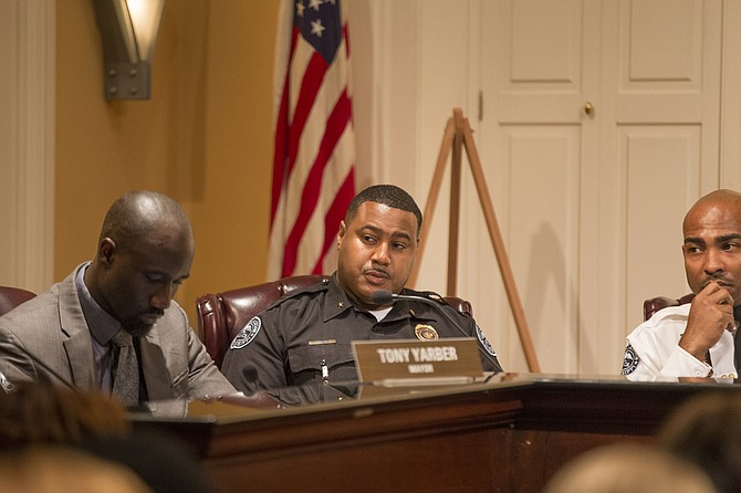 From left: Mayor Tony Yarber, JPD District Commander Duane Odom and Commander Tyree Jones were three of nine men on the City Hall dais during a violence-reduction forum on Feb. 23. The discussion didn't go off exactly as announced, however.