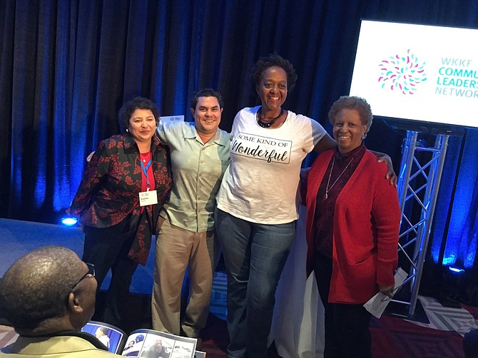 Shelia Nabors (second from right) is a W.K. Kellogg Foundation Community Leadership Network fellow in Mississippi who is working on a pilot program to further racial healing and understanding in north Mississippi. She was part of a meeting of the Mississippi fellows last week in Greenwood. Pictured from right: W.K. Kellogg Foundation Director of Leadership Programs Esther Nieves; Program Manager Simón Perazza; fellow Shelia Nabors; and foundation consultant and facilitator Patricia Turner.