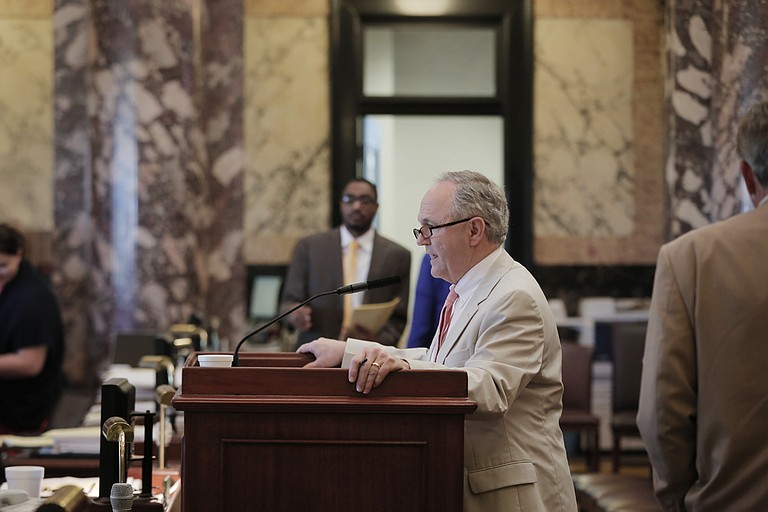 Sen. Buck Clarke, R-Hollandale, presented several budget bills Sunday evening. Both the Senate and the House must pass all budget bills by midnight on Monday.