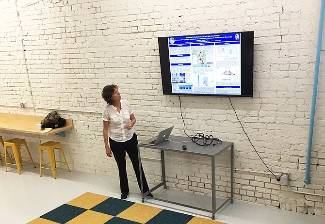 Denise Krause speaks at 1 Million Cups Jackson on March 22 about her business, Health Data Analytics, which aggregates Mississippi's health data.