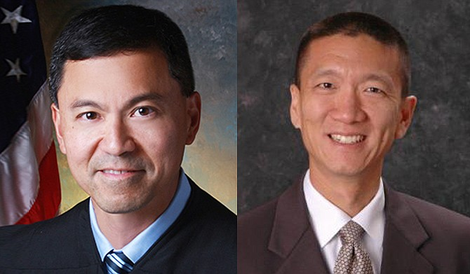 Even if U.S. District Judge Derrick Watson (left) does not issue a longer-lasting hold on the ban, the temporary block would stay in place until he rules otherwise. Legal experts say it is unlikely Watson would side with the Trump administration. Hawaii Attorney General Douglas Chin (right) filed the initial lawsuit against the U.S. government over the ban. Photo courtesy U.S. Courts State of Hawaii