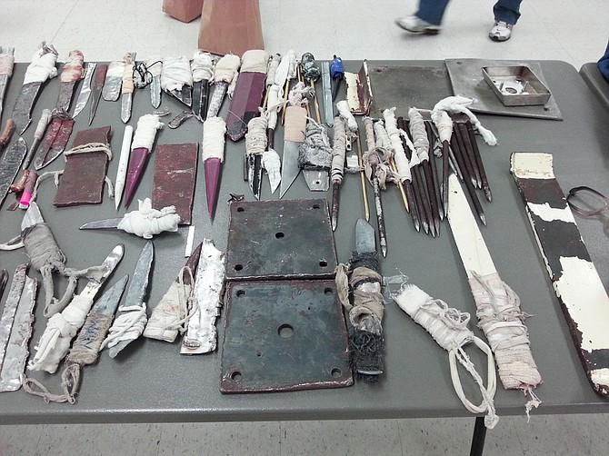 Mississippi Department of Corrections officials found a large number of shanks in a shakedown at Wilkinson County Correctional Facility, one of the state's three private prisons. Photo courtesy MDOC