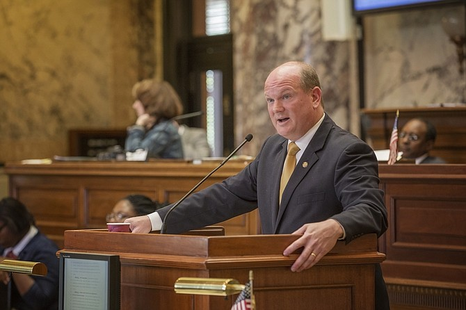 Sen. Brice Wiggins, R-Pascagoula, faced a barrage of questions from Democratic senators about a welfare fraud measure on the last day of session.