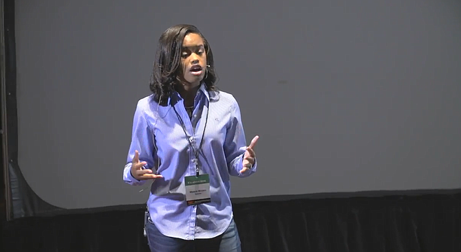 Jim Hill High School sophomore Maisie Brown, 15, is moderating the Youth Mayoral Forum on April 17 at Provine High School. Here she presented a TEDx Women talk in Jackson on media in October 2016. Photo courtesy YouTube