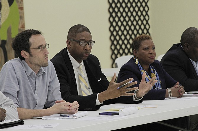 From left: JPS board members Jed Oppenheim, Rickey Jones and President Beneta Burt make up half of the JPS school board, which needs to fix several district policies before June 30 to keep the state from taking over the district.