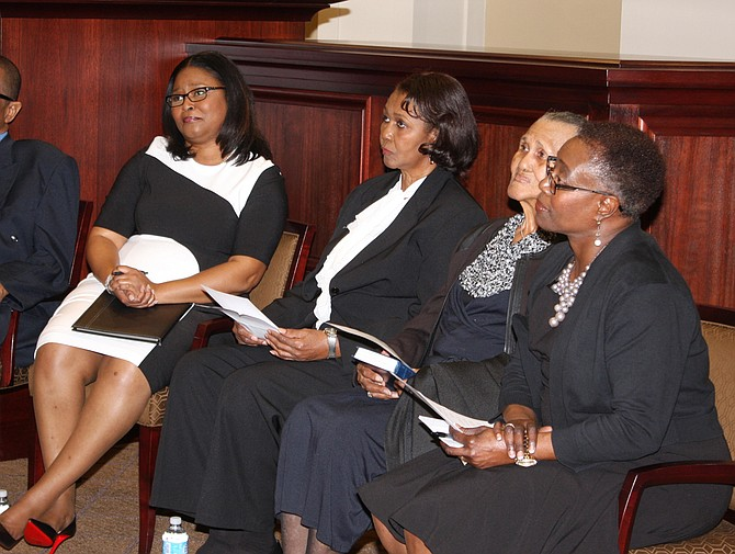 Judge Latrice Westbrooks (left) with her mother, Lucille Westbrooks Bennett; grandmother, Frances Westbrooks; and friend Leyser Q. Hayes at her Feb. 1 investiture. Photo courtesy Latrice Westbrooks
