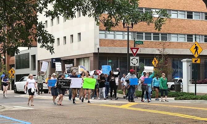 Protesters march down Capitol Street during the March for Truth in Jackson on June 3. Photo courtesy Rachel Fradette
