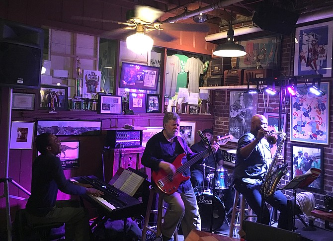 """(Left to right) Bill Perry, Raphael Semmes, Quinous Johnson and Tiger Rogers perform for """"Dinner, Drinks & Jazz"""" at Hal & Mal's."""