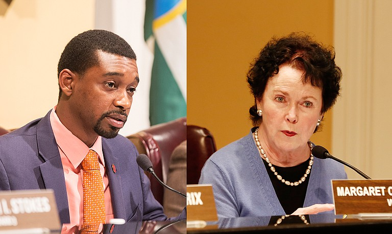 Councilman President Tyrone Hendrix and Councilwoman Margaret Barrett-Simon celebrated their last council meeting as elected officials Tuesday night.
