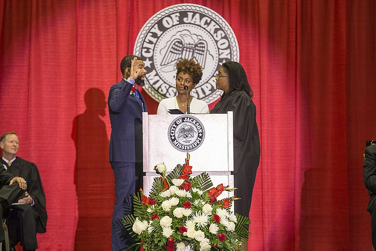 Chokwe Antar Lumumba stood with first lady Ebony Lumumba as he took the Oath of Office today as Jackson's youngest mayor. Mississippi Court of Appeals Judge Latrice Westbrooks of District 2 administered the Oath of Office.