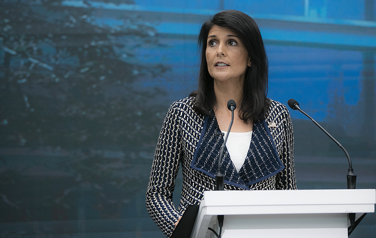 """Nikki Haley, Trump's U.N. ambassador, told an emergency session of the council Wednesday that the world must do more to """"cut off the major sources of hard currency to the North Korean regime."""" Photo courtesy U.S. Mission Geneva"""