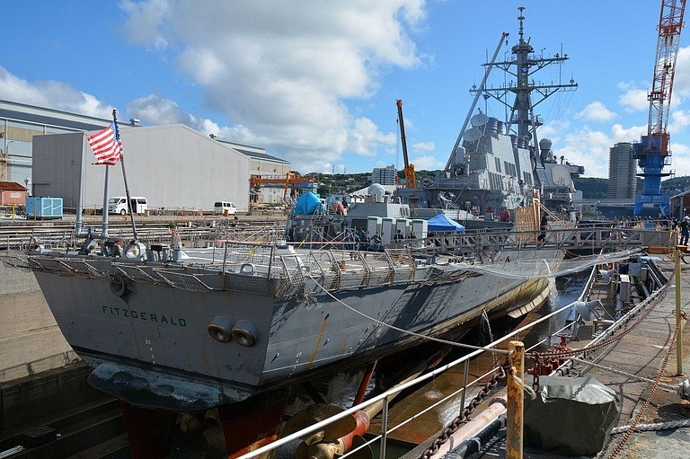 The USS Fitzgerald will be transported to Pascagoula for work at Ingalls Shipbuilding, part of Huntington Ingalls Industries of Newport News, Virginia. Photo courtesy Flickr/Daniel A. Taylor/U.S. Navy