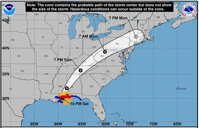 Track of Hurricane Nate (Courtesy National Weather Service).
