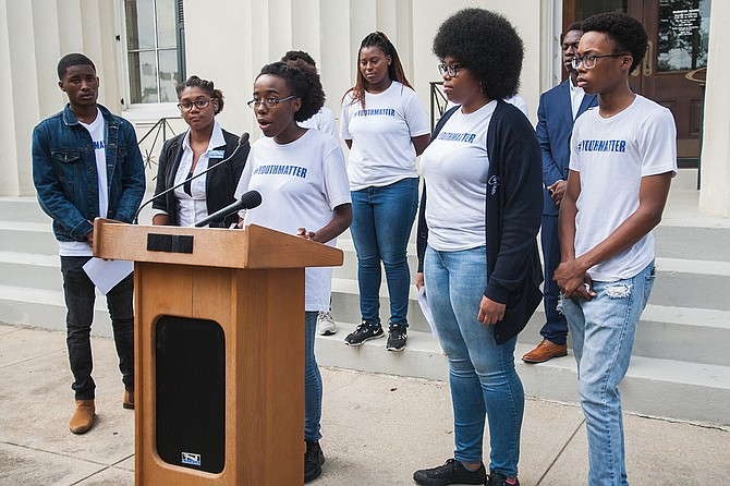 Zion Blount, a Murrah High School senior, spoke out against the impending state takeover of JPS. Photo courtesy Stephen Wilson