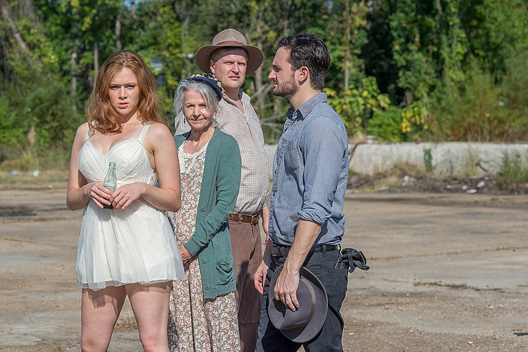 "Left to right: Betsy Helmer (Baby Doll), Ouida White Berger (Aunt Rose), Brian Landis Folkins (Archie Lee) and Billy Finn (Silva) star in New Stage Theatre's production of Tennessee Williams' ""Baby Doll."" Photo courtesy New Stage Theatre"
