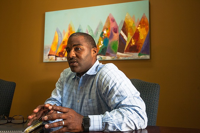 """Gerald Mumford, candidate for Hinds County attorney, wants to """"run prosecutors out of business"""" and to mentor youth before they get into the criminal-justice system. Photo by Stephen Wilson"""