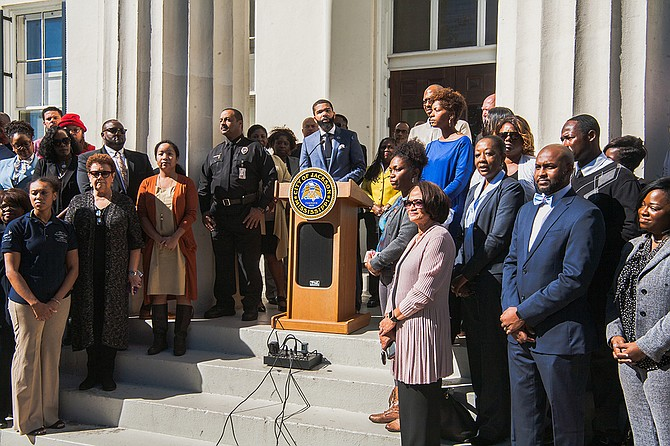 Mayor Chokwe Antar Lumumba discussed crime and cooperatives, and praised his transition team as he reflected on his first 100 days in office at a press conference outside City Hall on Oct. 24, 2017. Photo by Stephen Wilson