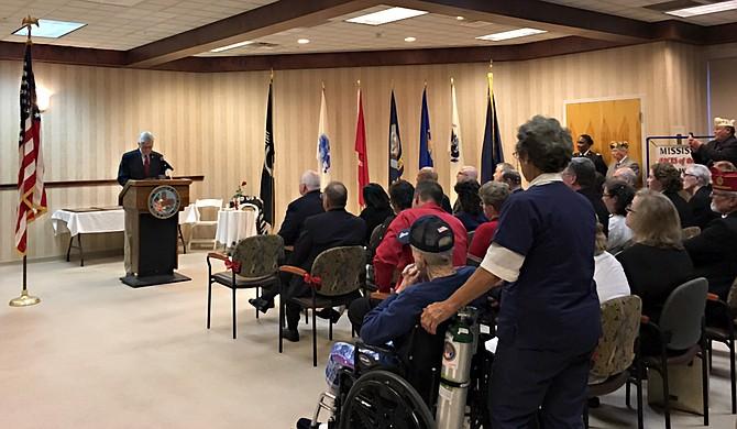 Gov. Phil Bryant addressed a room full of veterans to commemorate Veterans Day on Thursday, Nov. 9.