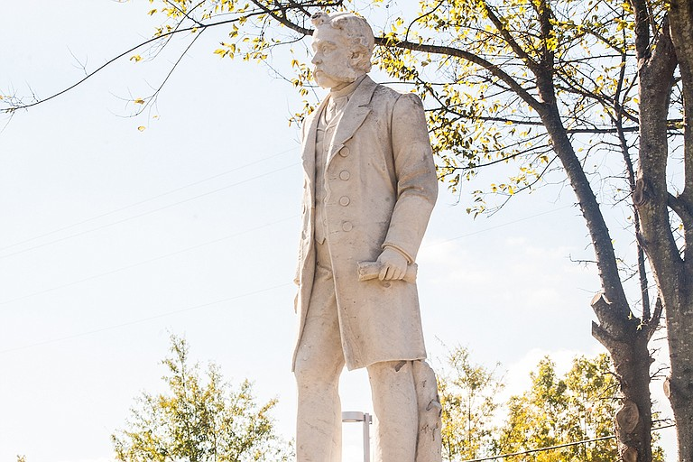 Jackson State University unveiled a refurbished statue of James (Jim) Hill on Thursday, Nov. 9, in Mt. Olive Cemetery on J.R. Lynch Street. Photo by Stephen Wilson