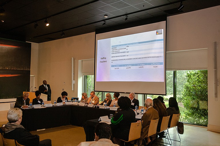"""All but one commissioner met Wednesday, Nov. 8, to discuss how the """"Better Together Coalition"""" will work to solicit feedback from the Jackson community and hire a company to conduct an in-depth study on Jackson Public Schools. Photo by Stephen Wilson"""