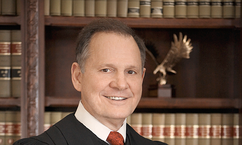 Roy Moore was removed as Alabama chief justice in 2003 when he disobeyed a court order to move a boulder-sized Ten Commandments monument out of the state Supreme Court building. After winning election to the post again, he was permanently suspended last year for urging state probate judges to refuse marriage licenses to gay couples, in defiance of the federal courts. Photo courtesy Judicial.alabama.gov