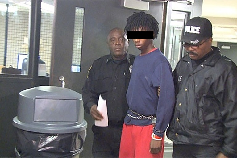 This is a screenshot from WAPT's perp-walk video of an accused 16-year-old.  Media asked JPD to stage the demonstration on Nov. 14 for photos and video. Photo courtesy WAPT
