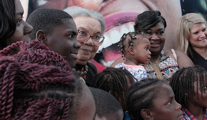Children's Defense Fund founder Marian Wright Edelman (center) speaks to young people outside Madison S. Palmer High School in Marks, Miss., on July 12, 2017. Photo courtesy Rachel Fradette