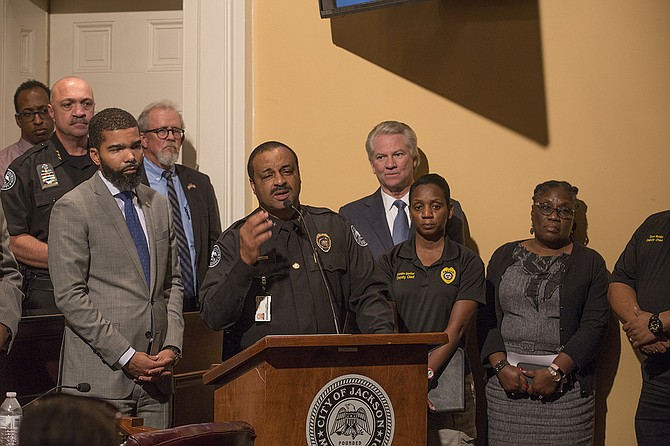 Following Lee Vance's (center) retirement after 30 years with JPD, Mayor Chokwe Antar Lumumba (left) appointed Anthony Moore as the interim chief of Jackson Police Department today.