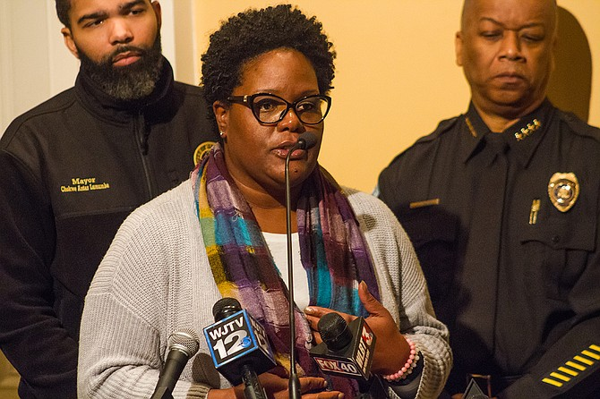 Constituent Services Manager Keyshia Sanders said the City of Jackson delivered water this morning to schools under a boil-water notice. She is pictured here at a press conference on Wednesday, Jan. 17.