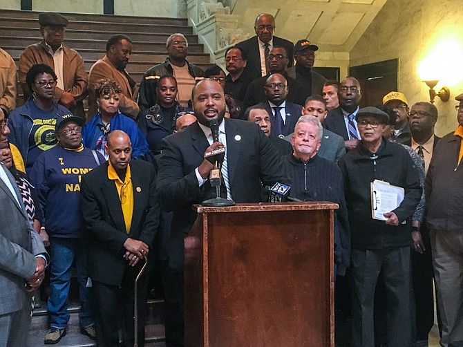 Corey Wiggins, executive director of the Mississippi NAACP (pictured here at a different press conference), said his organization opposes Senate Bill 2868 because of its potential to negatively affect communities of color in the state.