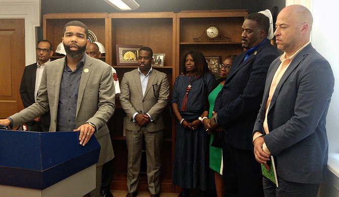 From left to right, Director of Planning and Development Mukesh Kumar, Fire Chief Willie Owens, Chief Administrative Officer Robert Blaine, Director of Human and Cultural Services Adriane Dorsey-Kidd, Chief of Staff Safiya Omari, Director of Parks and Recreation Ison Harris Jr. and Director of Administration Charles Hatcher.