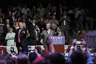 """Gov. Phil Bryant's ties to """"Brexit Boys"""" went beyond his connection to Nigel Farage (pictured here at a Trump rally in Jackson); after he met Arron Banks and Andy Wigmore with the Leave.EU campaign, Bryant helped Banks' company bring a data project to the University of Mississippi."""