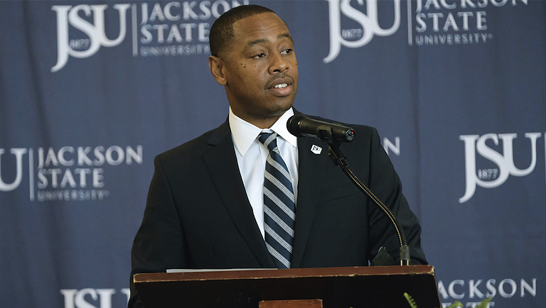Jackson State University President William Bynum Jr. named Ashley Robinson (pictured) as the school's new vice president and director of athletics during a press conference on Tuesday, June 5. Robinson will assume the new position on July 1.