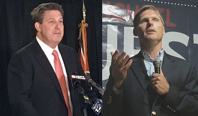 Mississippi hosts two run-off elections today. One is between Republican candidates Whit Hughes (left) and Michael Guest (right) for retiring U.S. Rep. Gregg Harper's seat in the Third U.S. Congressional District.