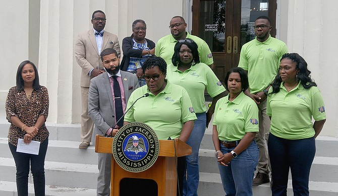 """Constituent Services Manager Keyshia Sanders addressed reporters at a press conference on July 9 about the City's """"Stuff the Truck"""" campaign. The goal is to fill an 18-wheel truck with school supplies to help Jackson Public School students during the upcoming school year."""