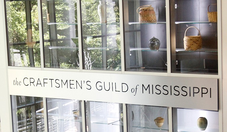 Displays in the Mississippi Craft Center, including one near the center's store, feature examples of crafts from across the state of Mississippi.