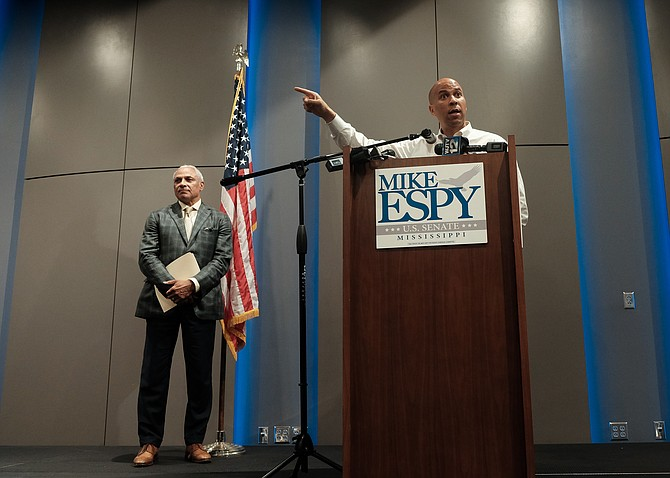 "U.S. Sen. Cory Booker said he came to Mississippi knowing that he will not agree with a southern Democrat like Espy on everything. But, he said he believes that Espy has the ""spirit of goodness and kindness and decency"" that he believes is needed in Washington.  Photo by Ashton Pittman"