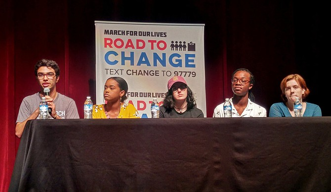 "Diego Pfeiffer speaks at the ""March for Our Lives: Road to Change"" town hall at Thalia Mara Hall (255 E. Pascagoula St.) on Aug. 2. From left to right, Pfeiffer, Murrah High School junior Maisie Brown, Marjory Stoneman Douglas graduate Sophie Whitney, St. Andrew's Episcopal School senior Clay Morris and Murrah High School student Maggie Jefferis."