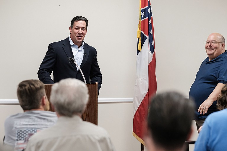U.S. Senate candidate Chris McDaniel (left), a Republican Mississippi state senator from Ellisville, kicked off a townhall tour of Mississippi in Petal on Aug. 30. Petal Mayor Hal Marx (right), a Republican candidate for governor in 2019, introduced him.