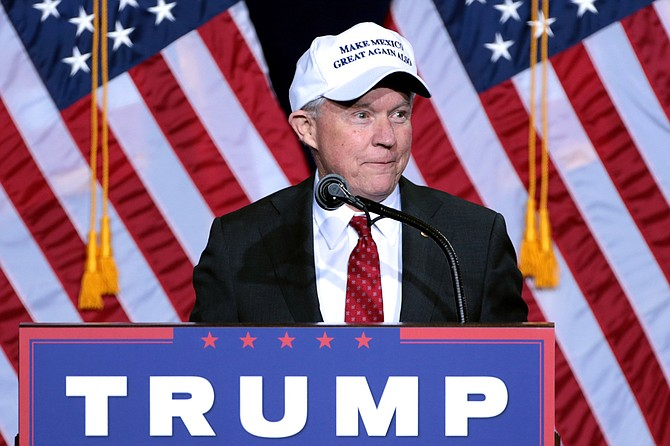"""After naming Jeff Sessions attorney general, Trump soured on him for recusing from the Russia investigation, calling him a """"traitor"""" and a """"dumb Southerner"""" according to a book by Bob Woodward. Here, Sessions speaks at a Trump-Pence campaign rally in August 2016."""