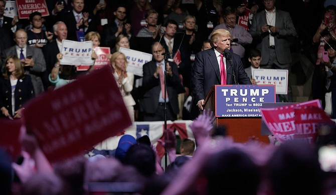 President Donald Trump plans to hold a rally in Mississippi to support incumbent Republican U.S. Sen. Cindy Hyde-Smith as she fights to hold the seat that Gov. Phil Bryant appointed her to in April. Trump is pictured here at another rally in Jackson in 2017.